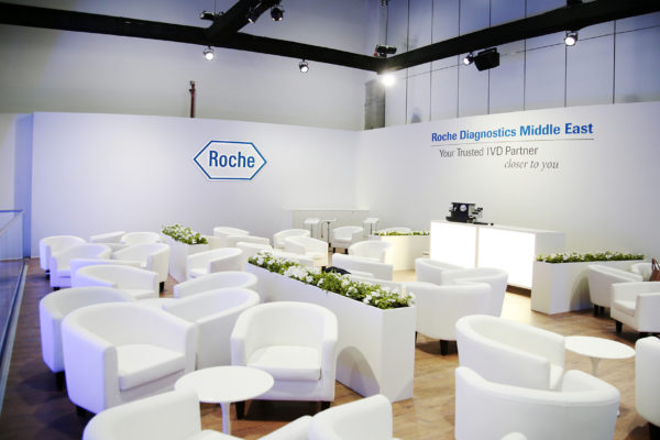 OH37 Roche Dubai Medical Confrence Event Design Lounge Area Stand Design Lighting