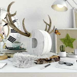 OH37 D is for deer key visual still life in a creative setting with 3D design and production deer