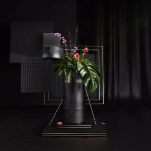 OH37 the letter I for Ikebana the japanese art beautiful plants in a vase still life in 3D