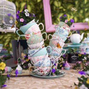OH37 the letter V for victroian tea parties with elegant 3d still life artdirection