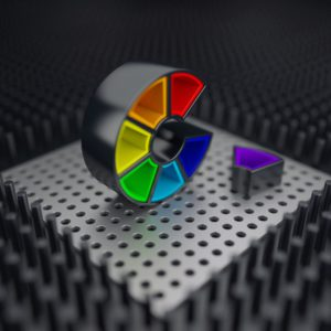 OH37 Color Wheel the letter C in a 3d world with beautiful color combinations and balanced art direction