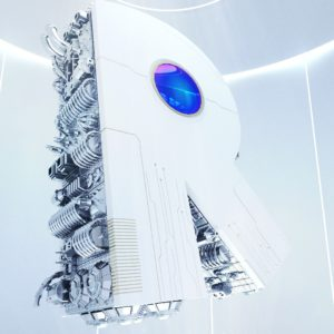 OH37 R for robot in a 3d white spaceship