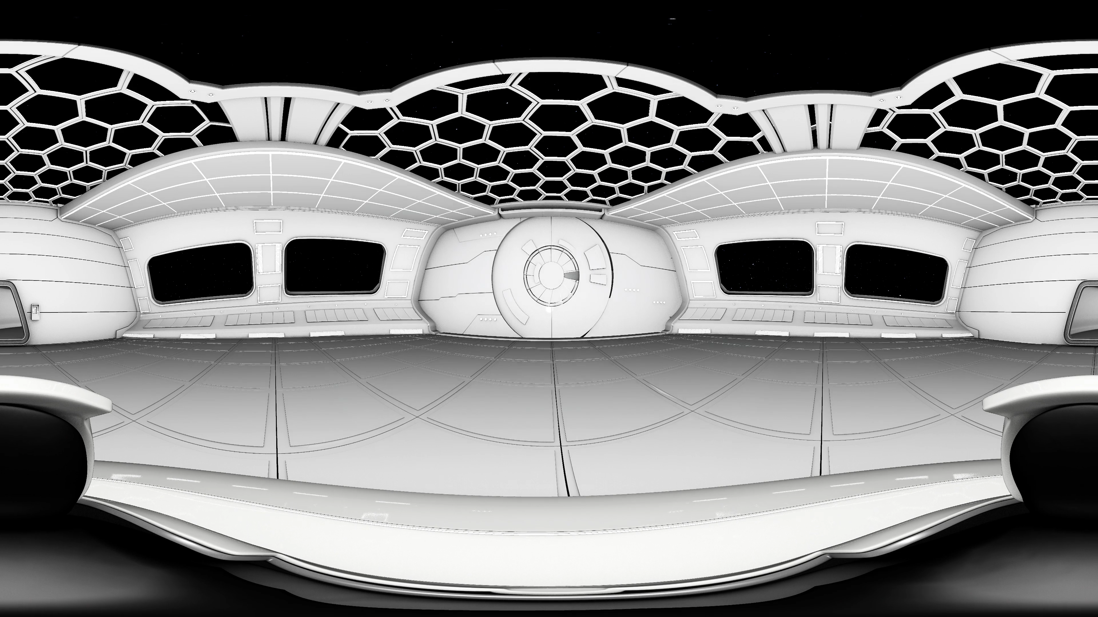 An equirectangular image of a virtual reality theater in space.