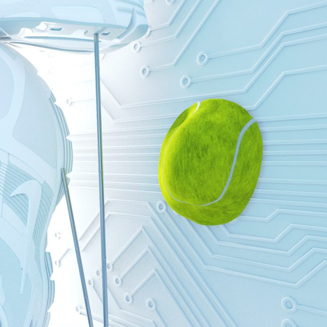 OH37 Tennis ball slow motion impact letter T tennis shoe