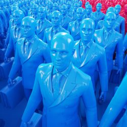 OH37 Typography and 3D design of blue people waiting in line
