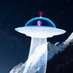 OH37 UFO aliens matte painting with 3d composting for promotional visuals and ads