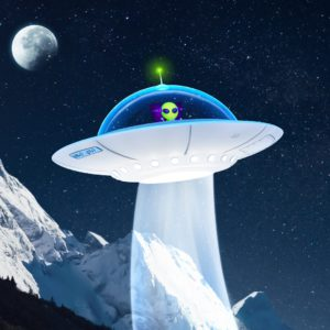 OH37 UFO visual with an alien flying a saucer with a moon and Dog