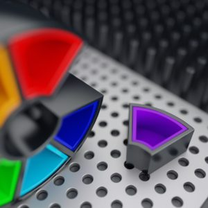 OH37 color wheel concept for the letter C creative 3d rendering