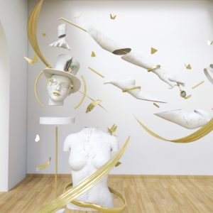 OH37 stil life 3D with golden butterfly glasses and a hand floating