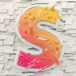 OH37 white 3D animation letter S for sports